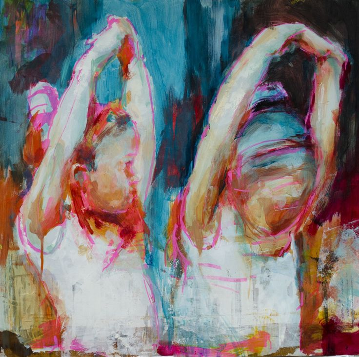 Saatchi online artist: Fernanda Cataldo; mixed media painting 'Bailarinas II'