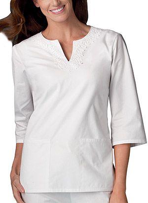 white tunic scrubs