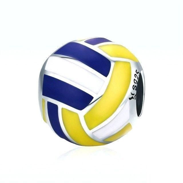 925 Sterling Silver Antique I heart Volleyball Charm and Pendant