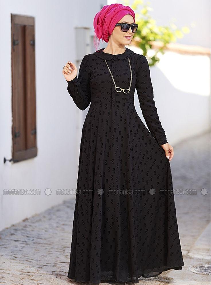 Gözlük Desenli Şifon Elbise - Siyah - Nilüfer Kamacıoğlu