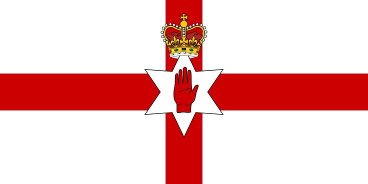 The Ulster Banner; bandera oficial del gobierno de Irlanda del Norte (de 1953 a 1972). Se la usa actualmente para representar la región en algunos deportes.