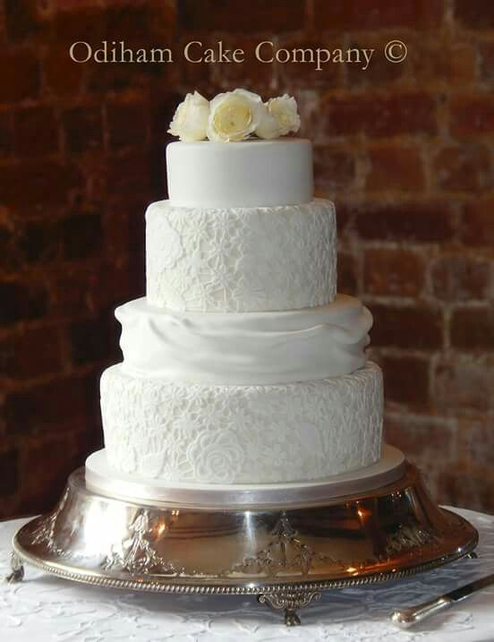 OCC - 4 tier wedding cake made from fruit cake and chocolate chip sponge with handmade lace. #occ #wedding #cake #fruit