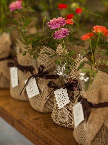 Embrulhados, os vasos com minirrosas podem decorar um cantinho da festa. Depois, cada convidado pega o seu