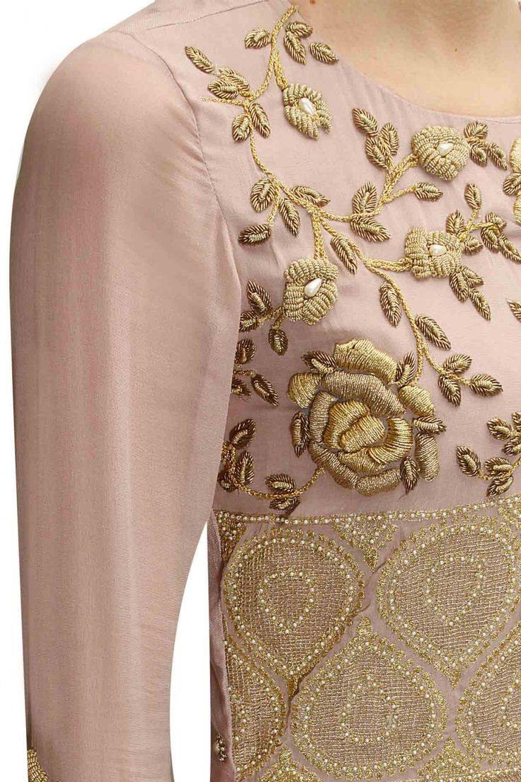 Powder pink rose jaal embroidered anarkali set with floral printed underlayer available only at Pernia's Pop-Up Shop.