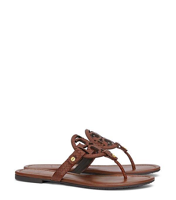 Tory Burch Miller Sandal, Snake-print Leather