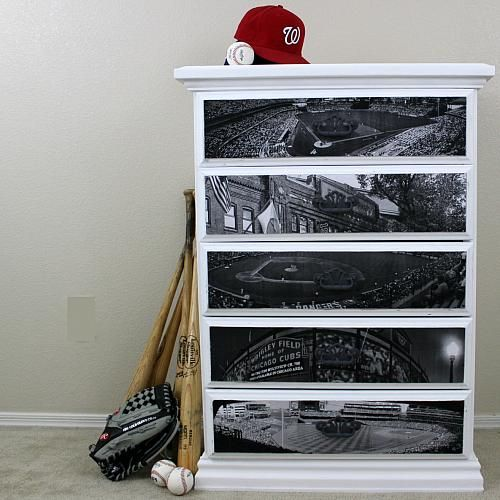 Baseball Field Decou-Page Dresser -- Hit a home run with a baseball dresser.  #decoartprojects