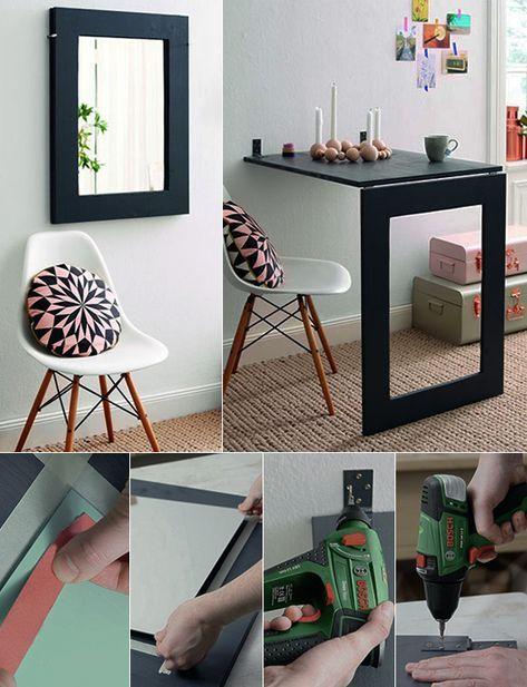 enge und kleine raeume einrichten mit modernem klapptisch wandspiegel als klapptisch selber bauen
