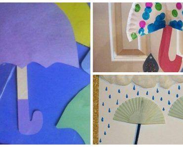 зонтик под дождем - детские поделки 9