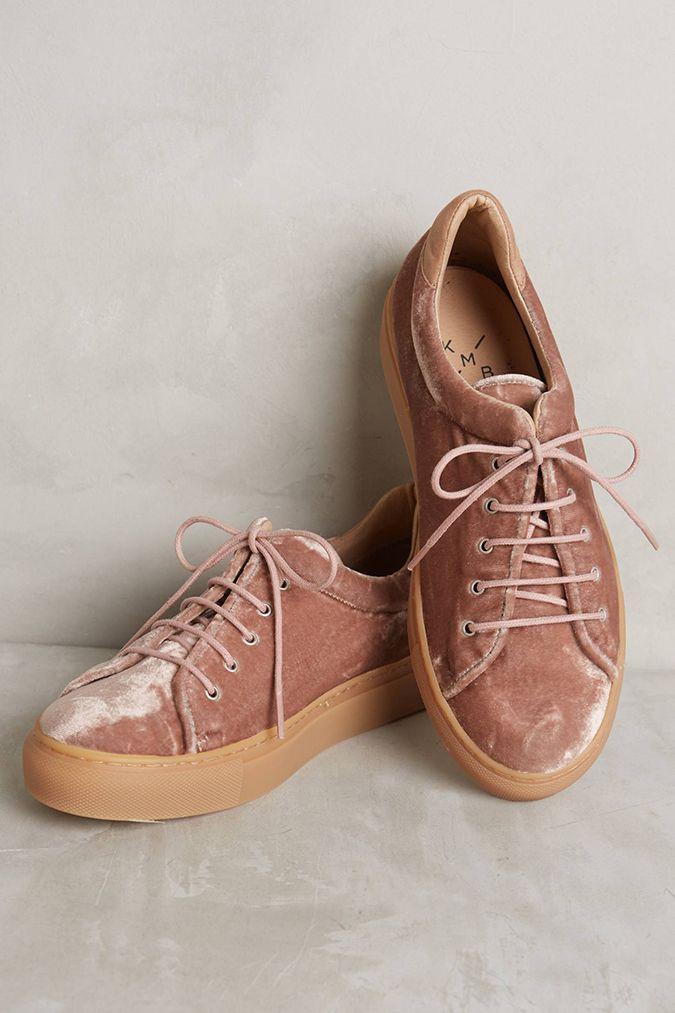 Blush velvet sneakers