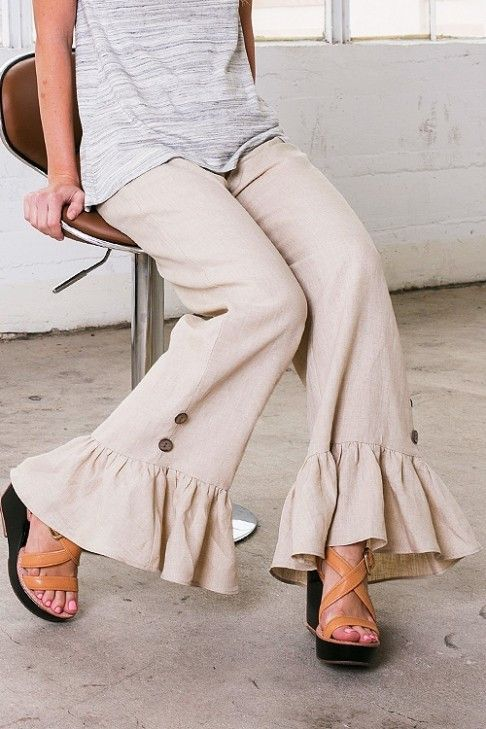 Button & Ruffle Bell Bottoms (All Sizes)
