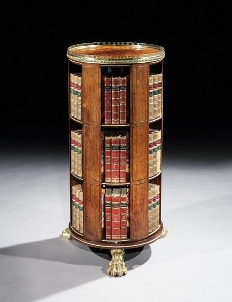 A REGENCY BRASS MOUNTED ROSEWOOD REVOLVING BOOKCASE    c. 1815 England