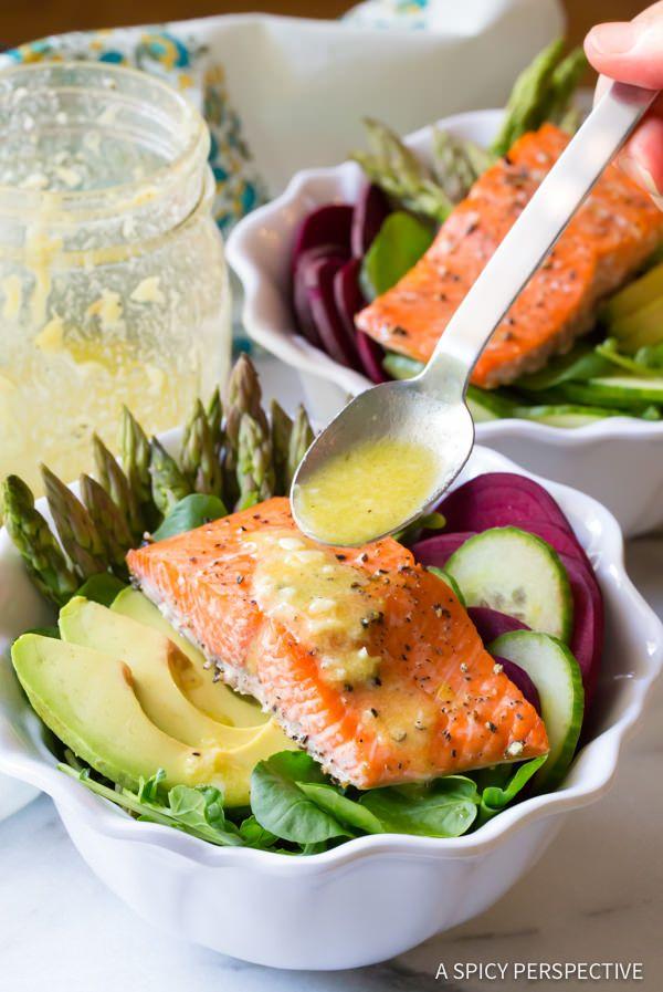 Amazing Roasted Salmon Detox Salad Recipe | ASpicyPerspective.com