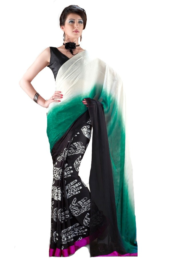 Green,Black Party Wear Saree Fabric - Satin Color - Green,Black  Reference : VLR216B http://valehri.com/sarees/598-greenblack-party-wear-saree.html