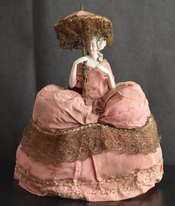 Half Doll, German Pincushion Doll, Arms Away Doll, Mold 11491, Marie Antoinette Doll, Porcelain China Doll, Antique Doll, Teepuppen Doll