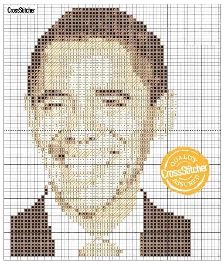 Free Barack Obama Cross Stitch Chart. Sewing Pattern Graph.