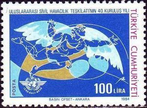 Icarus, ICAO Emblem, 40 years of International Civil Aviation Organization (ICAO) 1984