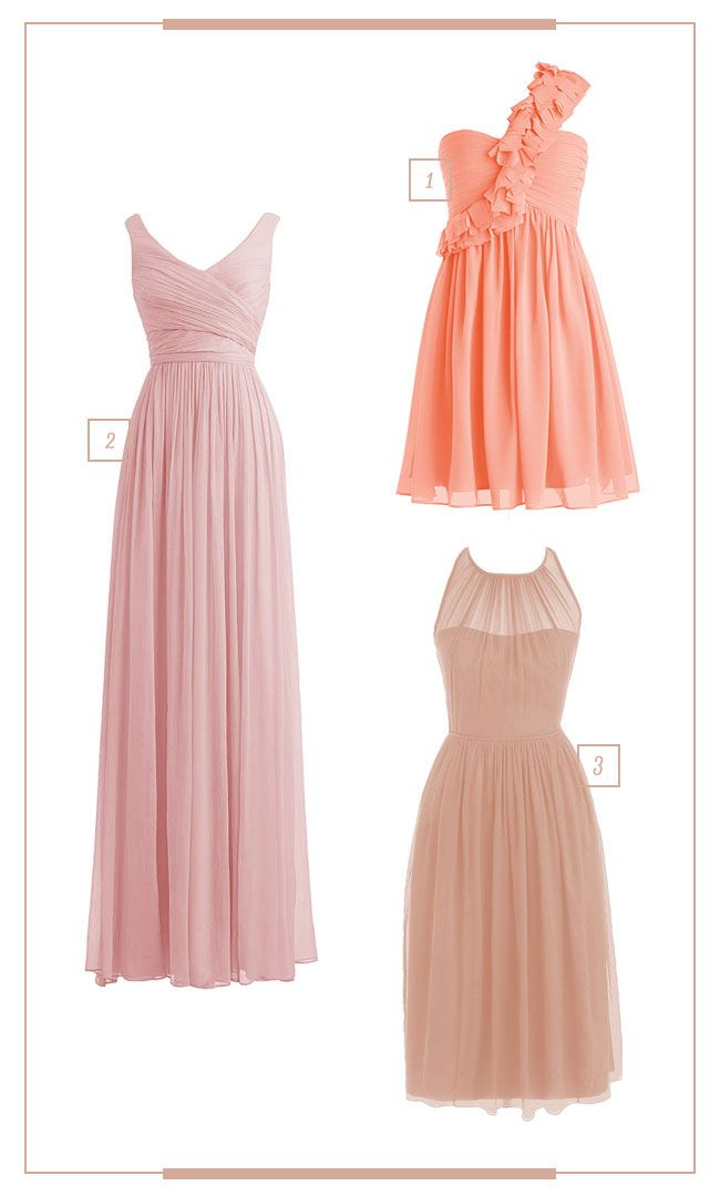 For Her and For Him Bridesmaids Dresses - in shades of peach
