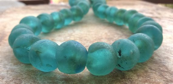 African recycled Glass beads Large 18 mm Smokey Aqua Blue,10 Large African Beads,Ghana Krobo Beads,10 African Glass Aqua Beads,Krobo Beads