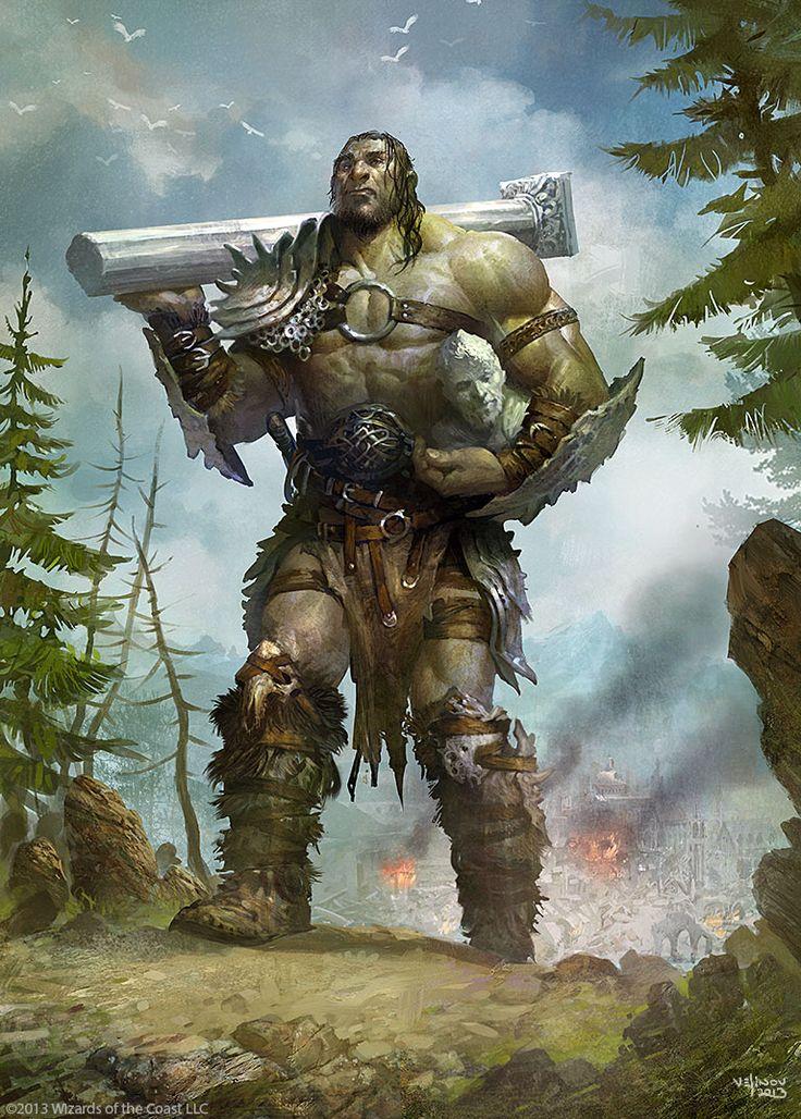 GEANTS = (Folklore & mythologie) Créatures anthropomorphes fortes, brutales et de très grande taille. Ceux-ci sont souvent en conflit avec les dieux. (Illustration : VELINOV - Giant-Warrior)
