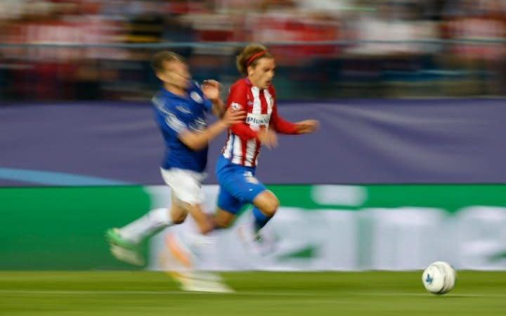 April 12th. 2017: Leicester City's Marc Albrighton brings Atletico Madrid's Antoine Griezmann down, and the referee controversially deemed it a penalty, from which Atletico derived a 1-0 first leg lead