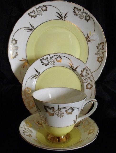 Old Royal Vintage Bone China Art Deco Gilded Tea Set 6 Trios Cake Plate Jug | eBay