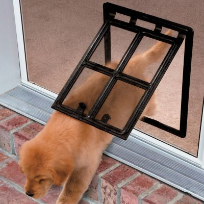 This is the ideal: pet door flap that you can lock when needed! It's the ideal pet door for patio doors that are screened.