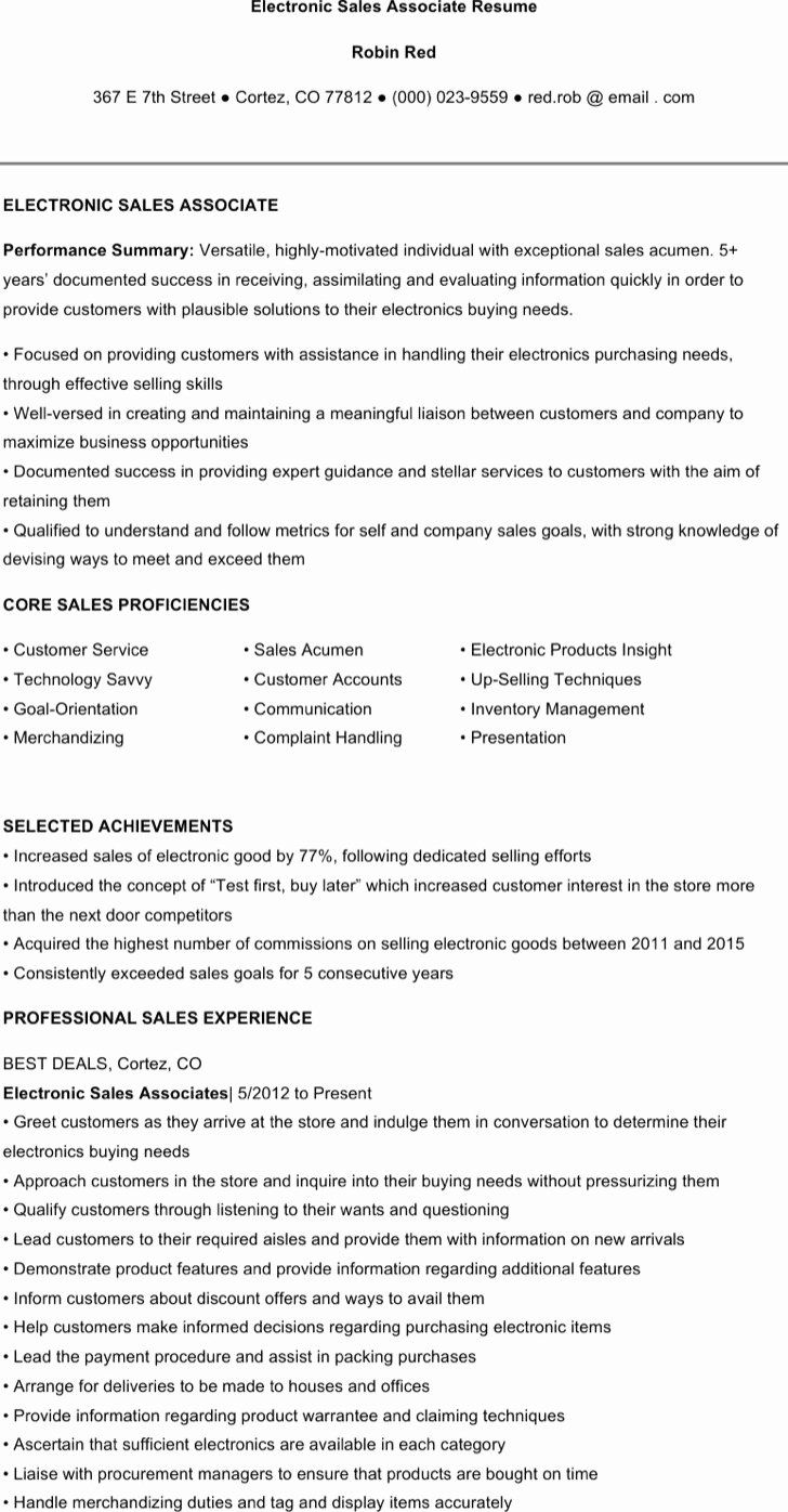 Jewelry Sales Associate Resume Beautiful 7 Sales Associate Resume Templates Free Download