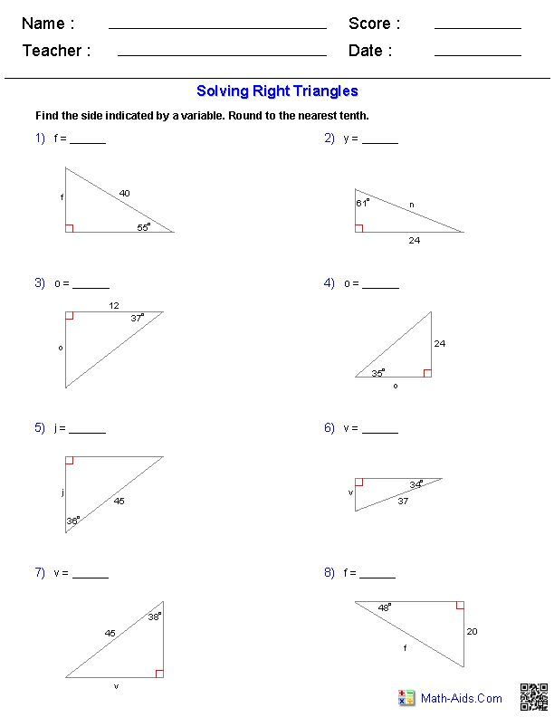 Solving Right Triangles Worksheets Mathaids Com Pinterest The