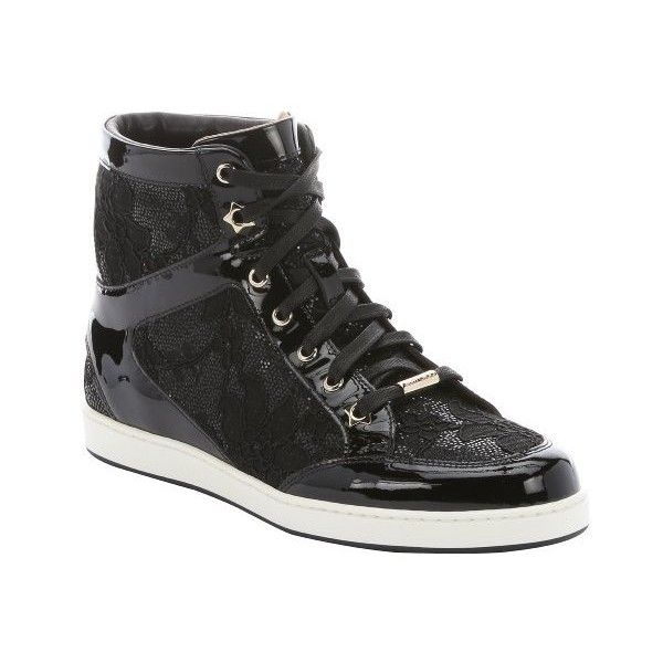 Jimmy Choo Black patent leather and glitter lace 'Tokyo' hi-top... (£320) ❤ liked on Polyvore