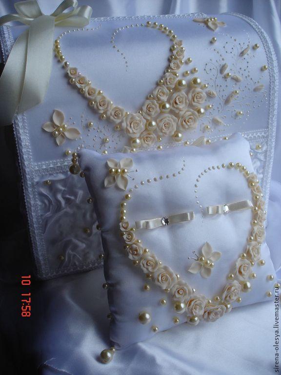 """Купить Свадебный комплект айвори """"Сердечко"""" - белый, свадебные аксессуары, казна для денег, казна свадебная"""