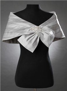 輝く飾りグラマラス銀色レディース結婚式/イブニングショール 12019545