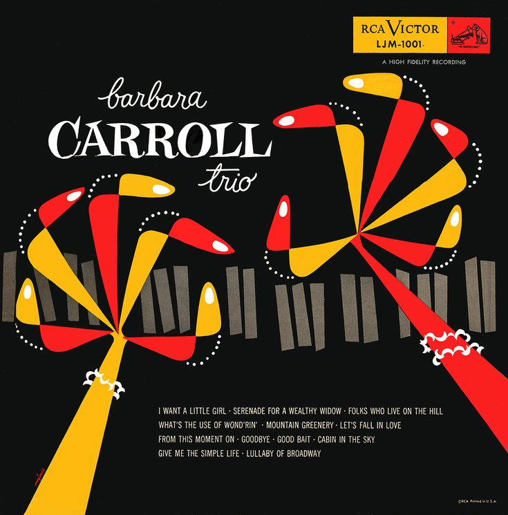 Barabara Carrroll Trio RCA record album cover via MID-CENTURIA.