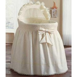 Precious Bassinet Set - Lay your baby down in a wondrous haven of ruffles and lace for supreme elegance and comfort. The dainty bow at the center, lending this bassinet a unique flair that complements both traditional and modern decor.
