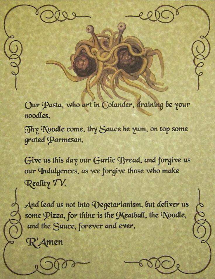 FSM Lord's Prayer pastafarian Flying Spaghetti Monster Occult Agnostic Atheist   eBay