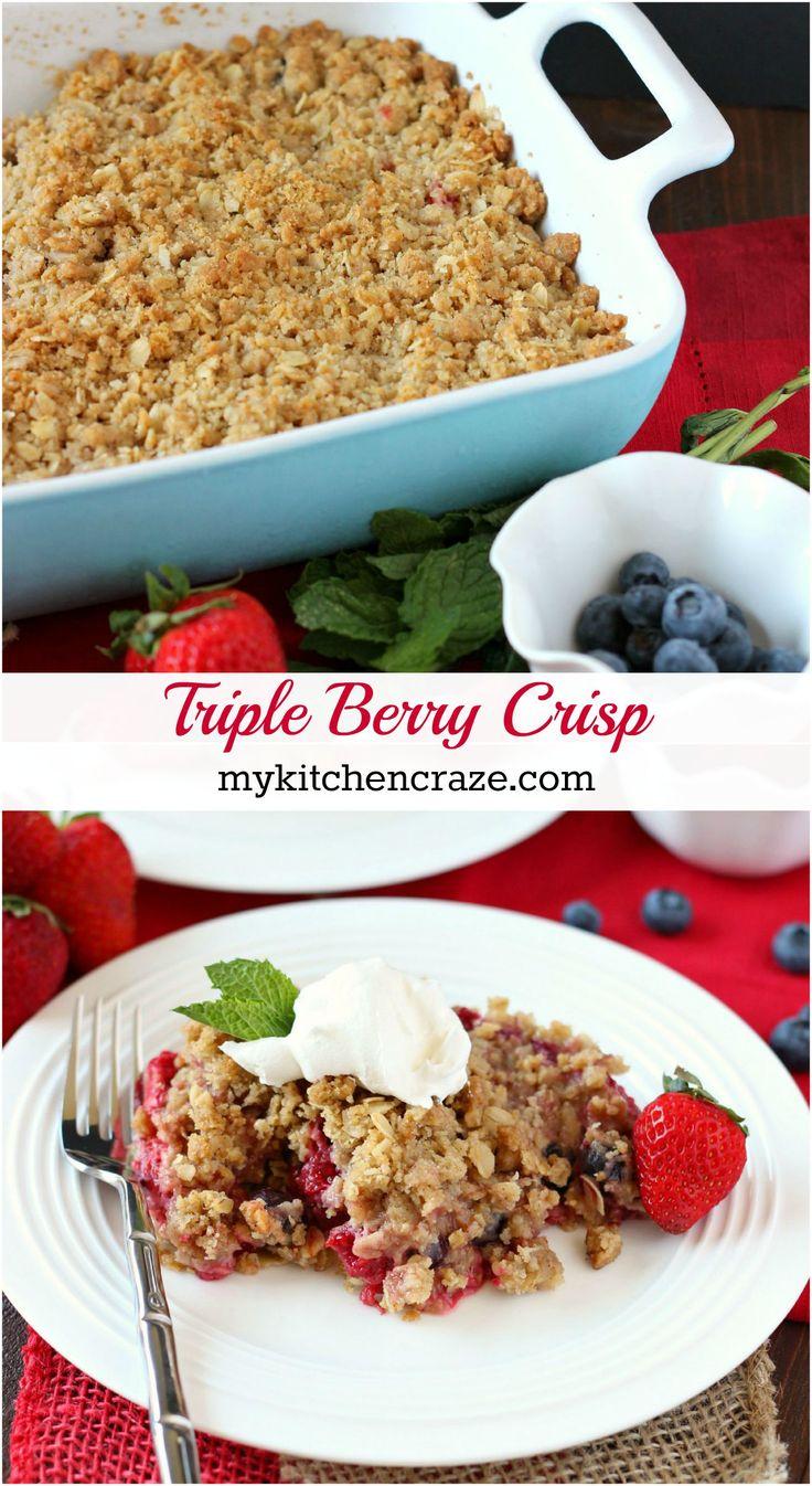 Triple Berry Crisp ~ mykitchencraze.com ~ Warm mixed berries topped with crispy oats makes this Triple Berry Crisp a delicious fruit dessert!