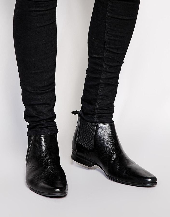 $81, Black Leather Chelsea Boots: Asos Brand Chelsea Boots In Leather With Snakeskin Effect. Sold by Asos. Click for more info: https://lookastic.com/men/shop_items/289024/redirect