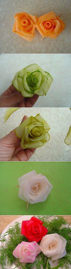 Rosas para você! A partir de vegetais! (Passo a passo): decorar pratos. Passo a passo
