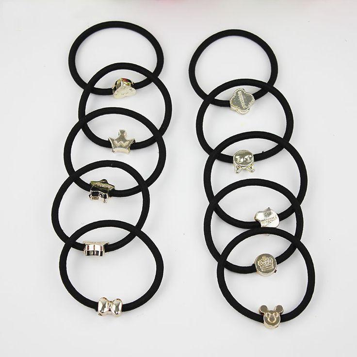 10 stks Koreaanse Mooie Rubber Touw Paardenstaart Zwart Vrouwen Haaraccessoires Elastische Hoofdband Haarband Verzonden Willekeurig