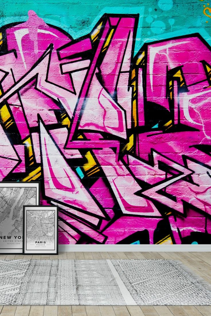 Pink Graffiti Wall Mural   Wallpaper Part 87