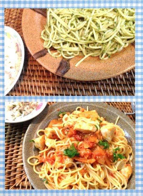 夕ご飯(9/23):我が家のバジルを使ってジェノベーゼを、イタリアンパセリとオレガノを使って塩麹チキンとキャベツのトマトソースパスタを作りました。・*.✧꒰⋆′◡ु͐‵⋆꒱。・*.✧ツナサラダは夫作!