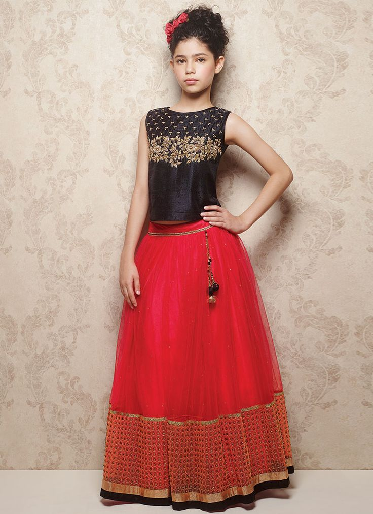 Doll Red Net Kids Lehenga