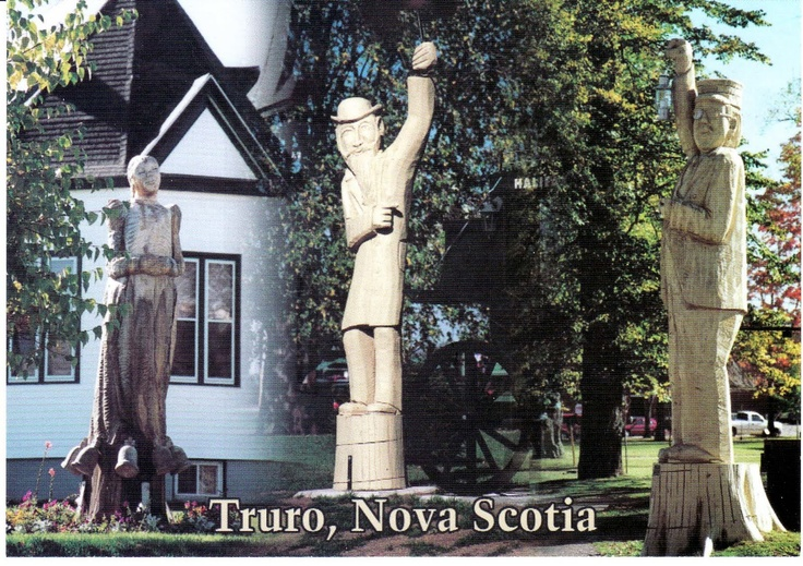 TRURO, NOVA SCOTIA Many figures from the town's past are featured in over 40 tree sculptures which were carved in tree trunks after Truro lost most of its Elm trees to Dutch Elm Disease in the 1990s. The history of the town and surrounding county is preserved at the Colchester Historical Museum (c.1900-1901) in Truro is on the Canadian Register of Historic Places UNIQUE FOR TREE SCULPTURES