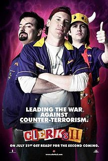 Clerks II is a 2006 American comedy film written and directed by Kevin Smith, sequel to his 1994 film Clerks, and his sixth and latest feature film to be set in the View Askewniverse. The film stars Brian O'Halloran, Jeff Anderson, Rosario Dawson, Trevor Fehrman, Jennifer Schwalbach Smith, Jason Mewes and Kevin Smith, and picks up with the original characters from Clerks: Dante Hicks, Randal Graves and Jay and Silent Bob 10 years after the events of the first film. <3 <3 <3 /3