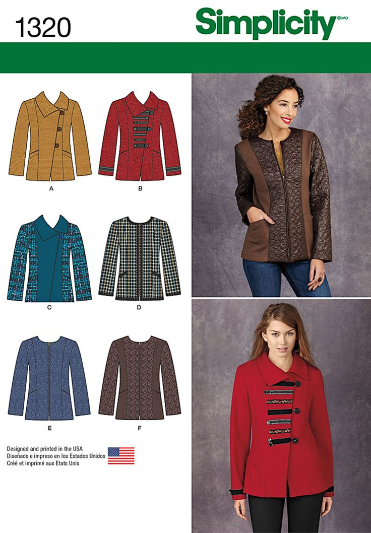 This jacket is the trendy piece you need to update your cool weather style. Jacket can have asymmetric front with collar and button closure, or can be collarless with front zipper. Both have trim and contrast options. Sew the look with Simplicity Sewing Pattern 1320.