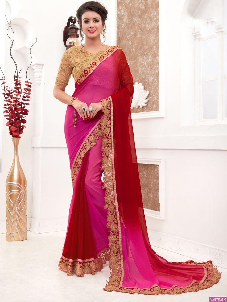 Dashing Pink Chiffon Embroidered Work Traditional Saree