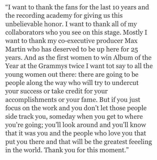 Taylor Swift acceptance speech Grammy 2016