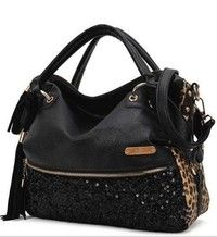 Note:Color Black=full black bag,Color Leopard print=One side black, the other three sides is Leopa