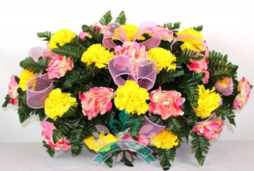 XL Yellow Carnations and Pink Peonies Cemetery Tombstone Saddle Arrangement