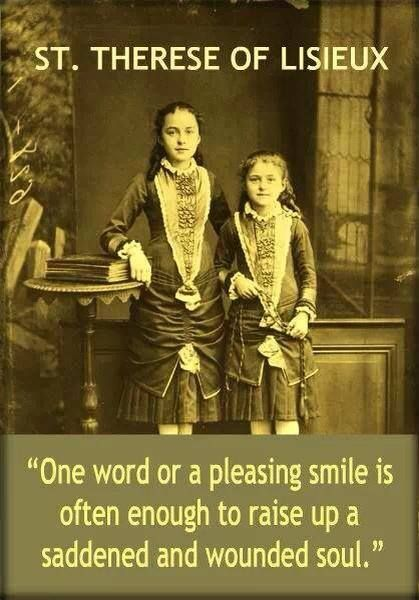 St. Therese of Lisieux is on the right and her sister Celine on the left