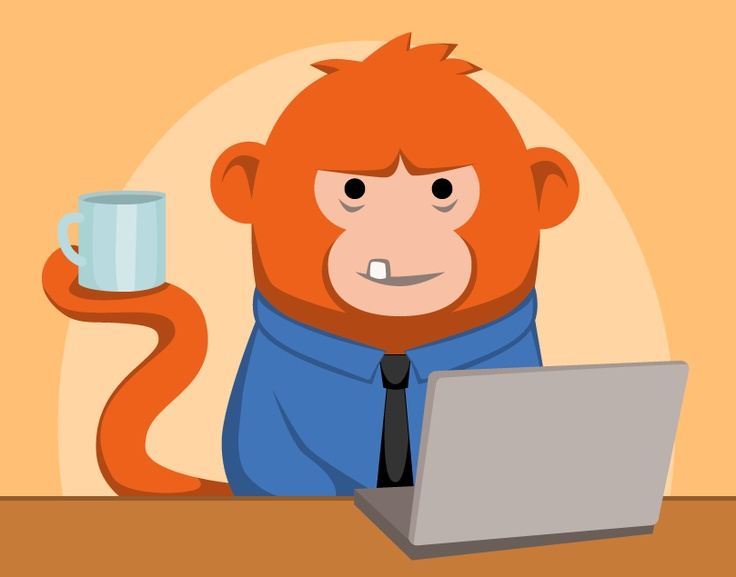 Geeky code monkey with coffee cup in front of laptop. Vector illustration.